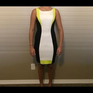 Bebe white/green/black short dress
